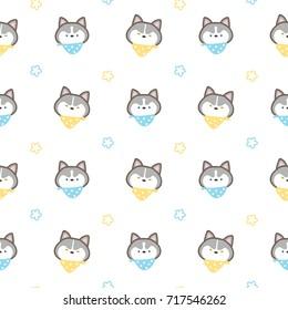 Seamless Pattern of Cartoon Siberian Husky Dog on White Background