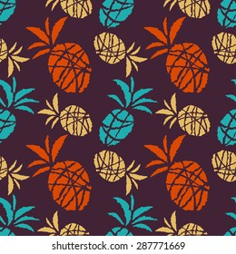 Seamless pattern with cartoon sketch pineapples. Food, fruits. Repeating print, background texture, wallpaper