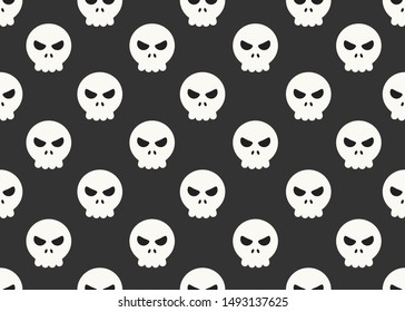 Seamless pattern of cartoon skulls on black background - Vector illustration