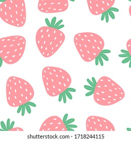 Seamless pattern with cartoon strawberries. colorful vector. hand drawing, flat style. design for fabric, print, textile, wrapper