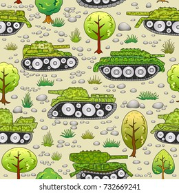 Seamless pattern with cartoon tanks in summer forest.