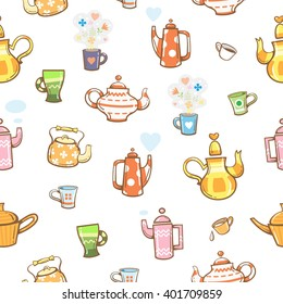 Seamless pattern with cartoon teapot and cups on  white background. Various dishes and healthy herbal drink. Vector image.