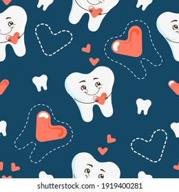 Seamless pattern with cartoon tooth and heart character. Vector background for pediatric dentistry
