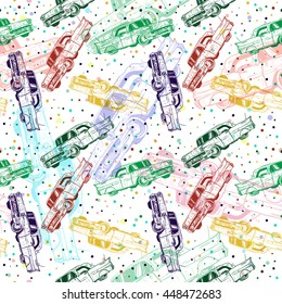 seamless pattern cartoon traditional old Cuban cars. Vector background. Design elements for poster.