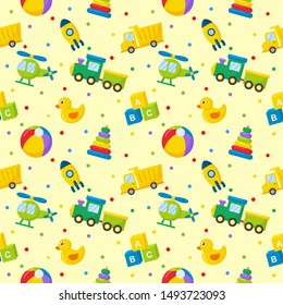 seamless pattern cartoon transport toys. cars, helicopter, rocket, balloon and plane. kawaii style isolated on yellow background. illustration vector.