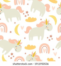 seamless pattern with cartoon unicorns, rainbows, clouds, decor elements. Magic. Colorful vector flat style for kids. Animals. hand drawing. baby design for fabric, print, wrapper