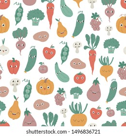 Seamless pattern with cartoon vegetables and fruits.