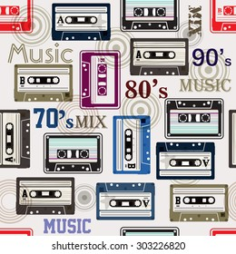 Seamless pattern with cassette / Cassette tape seamless pattern for design fabric,backgrounds, package, wrapping paper, covers, fashion