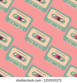 Seamless pattern of cassette tape. Retro vintage mixtape . Vector pixel art illustration. 8 bit