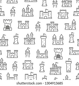 Seamless pattern with castles. Black and white thin line icons
