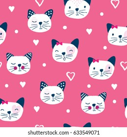 seamless pattern with cat, bedding pattern, wrapping paper vector illustration