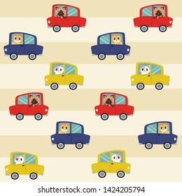 The seamless pattern of cat driving a car. The cat driving a car on yellow and white background.The cat smiling.They look happy. many color of car. cute cat in flat vector style.