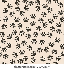 Seamless pattern of cat footprint. Vector illustration. Cute background for print on fabric, paper, scrapbooking. Modern graphic design. Hipster creative tileable print Two colors