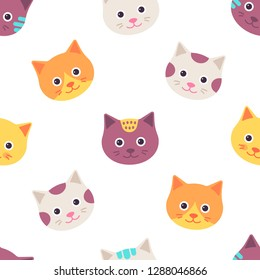 Seamless pattern with cat. Vector. Cute animal faces background. Kitten head in flat design isolated on white. Cartoon illustration for textile, baby shower, invitation template, scrapbook, cards.