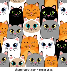 Seamless pattern with cats. Background with gray, white, black, ginger and siamese kittens