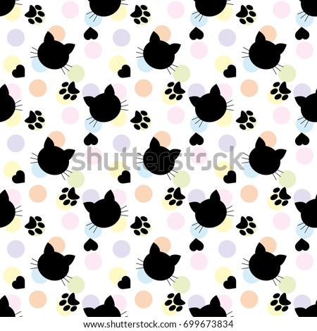 Seamless Pattern Cats Cartoon Cats Background Stock Vector Royalty