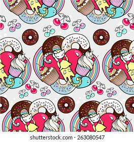 Seamless pattern with cats and cupcakes