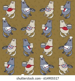 Seamless pattern with cats and dishes