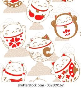 Seamless pattern with cats Maneki-neko, lucky charms. Vector illustration.