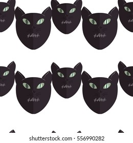 Seamless pattern of Cats on a white background. Vector.