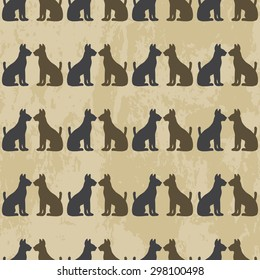 seamless pattern with cats. Silhouette of cat - vector illustration on grunge background