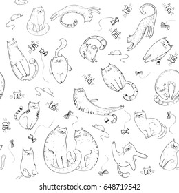 Seamless pattern with cats in sketch style. Hand drawn cats
