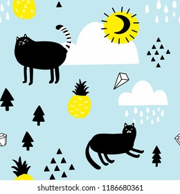 Seamless pattern with cats in the sky. Vector background in simple scandinavian style for children decoration.