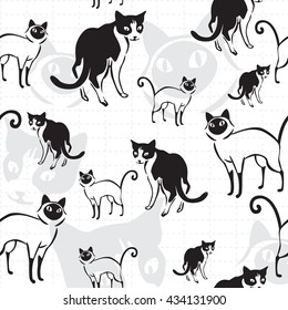 Seamless pattern of cats use as background, wallpaper, card and wrap paper