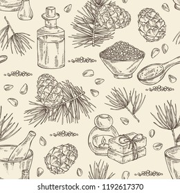 Seamless pattern with cedar: branch, cedar cone, oil, soap and bath salt . Cosmetic and medical plant. Vector hand drawn illustration.