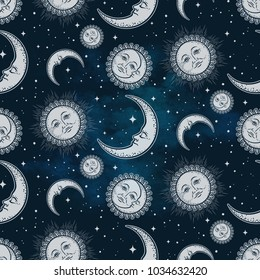Seamless pattern with celestial bodies - moon, sun and stars over blue night sky background. Boho chic fabric print, wrapping paper or textile design hand drawn vector illustration