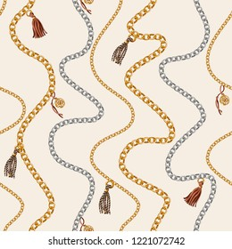 Seamless pattern with chain for fabric design. Vector