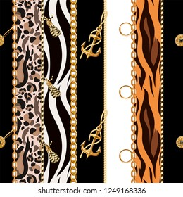 Seamless pattern with chains, anchor, coins on leopard and zebra background.
