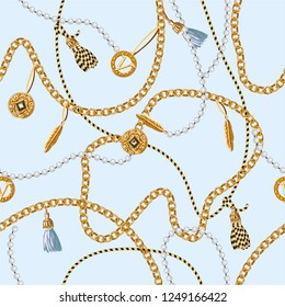 Seamless pattern with chains, coins, feather and jewelry.
