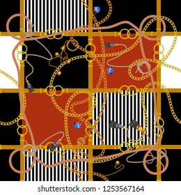 Seamless pattern with chains and ropes. Vector patch for fabric, scarf.