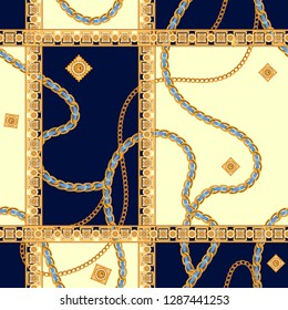 Seamless pattern with chains. Vector patch for print, fabric, scarf.