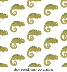 seamless pattern chameleon lizard animal on white background vector wallpaper textile giftwrap