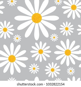 Seamless Pattern With Chamomile Flowers On Grey Background Beautiful Floral Ornament Vector Illustration