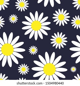 Seamless pattern. Chamomile flowers on a dark blue background. Vector drawing. Texture.