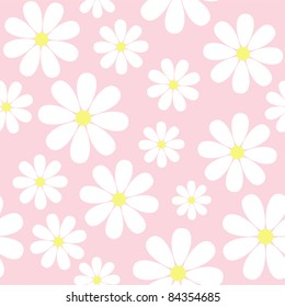 seamless pattern with chamomiles on pink background