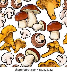 Seamless pattern of chanterelle, champignon, porcini edible mushrooms, sketch vector illustration on white background. Button mushroom, chanterelle seamless pattern, background, backdrop design