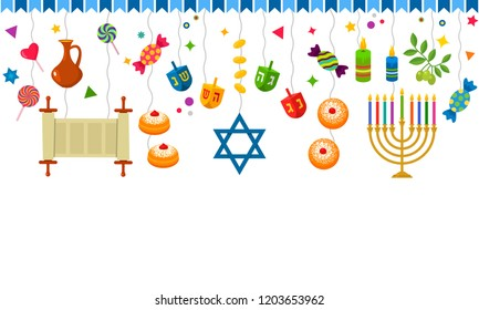seamless pattern for the Chanukah festival of lights. Traditional symbols - dreidel, donuts, menorah, sweets, star of David. flat vector illustration isolated on white background