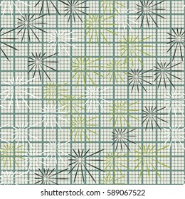 Seamless pattern. Chaos of asymmetric stars. Checkered background. Grungy textiles. Wallpaper for children.
