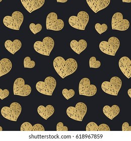 Seamless pattern with chaotic hearts. Shaded shapes are arranged in random order. Romantic background. It can be used for wallpaper, textiles, tiles, wrapping, card, cover. Vector illustration, eps10
