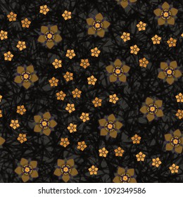 Seamless pattern. Chaotically scattered flowers on a motley background. Fashionable texture, for women's clothing, wallpaper and design.