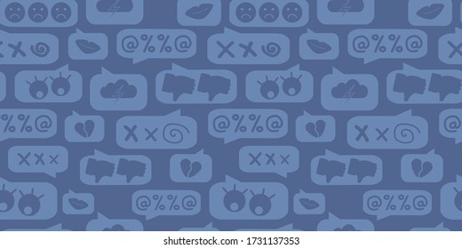 seamless pattern of chat with cyberbullying, online bullying on a dark blue background. Posting sexual remarks, or pejorative labels. profanity and sexual harassment