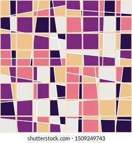 Seamless pattern. Checkered pattern. Asymmetrically cut squares. Nice colors.