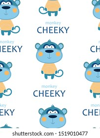 seamless pattern of cheeky monkey in striped tshirt with lettering isolated on white background, tshirt design for kids vector illustration