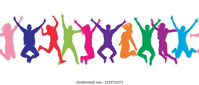 Seamless pattern. Cheerful crowd jumping people. Colorful.