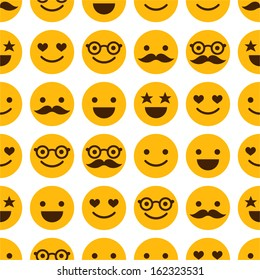 Seamless pattern with cheerful and happy smileys for textiles, interior design, for book design, website background