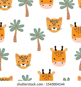 Seamless pattern with Cheetah, giraffe and palm tree. Vector illustration for printing on fabric, postcard, wrapping paper, book, picture, Wallpaper. Cute baby background.